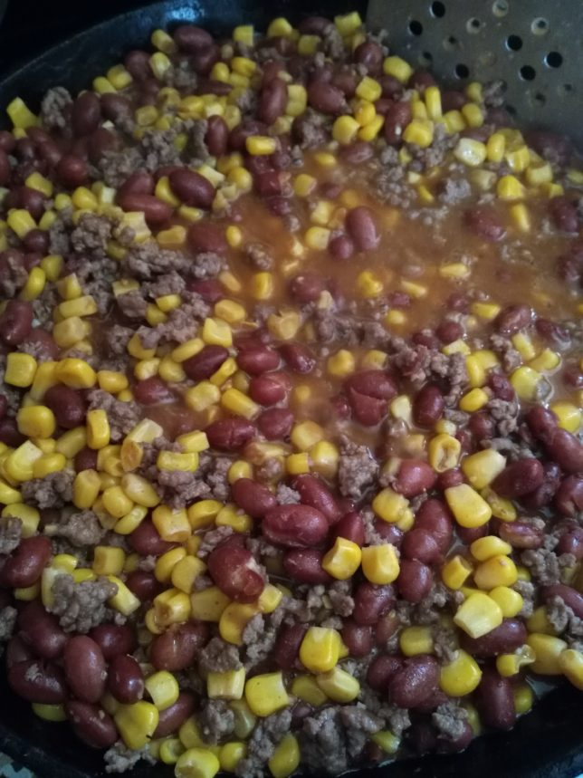 Chuck wagon chow in the pan